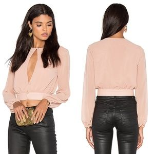 LPA Top 42 Nude Cropped Slit Keyhole Blouse size S